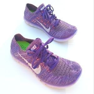 NIKE Free RN flyknit purple running shoes